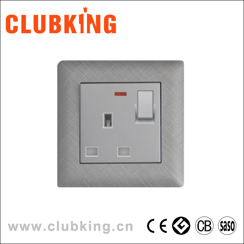 C1 Twice Pole choice 13a power cube switched socket + led neon