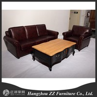 Living room furniture 3 seat salon leather sofa set