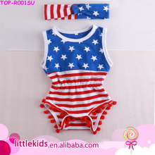 American Flag Patriotic Blue Star&Red Stripes Girls Boutique 4th Of July Pom Pom Baby Romper