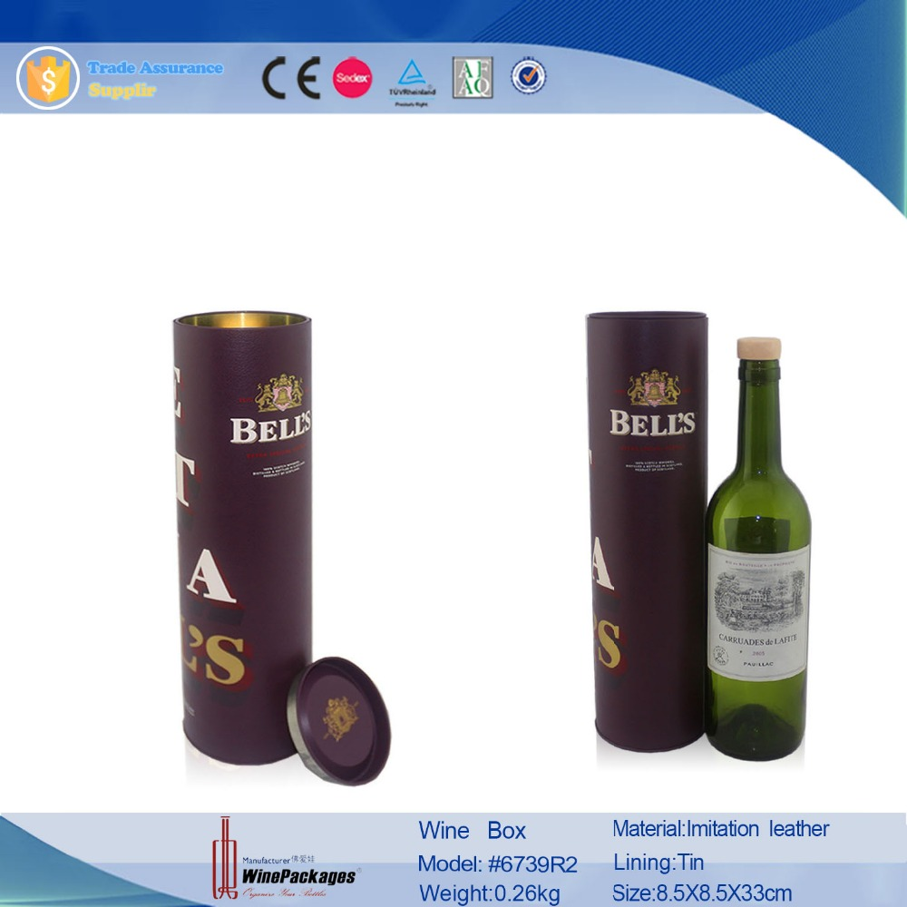 round tube leather tin wine bottle case,single bottle packaging wine box