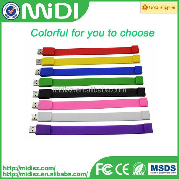custom logo printing silicone bracelet usb flash drive