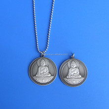 Metal Antique Silver Embossed Buddha Design Metal Necklace Pendant
