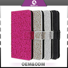 Colorful bling bling diamond flip leather wallet case with mobile phone holder diamond cell case for iphone 6