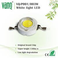 shenzhen led encapsulation technology1w high lumen led,super bright 120-130lm bridgelux led,cool white8000-9000k 1w white led