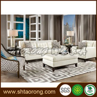 French style wooden leather sofa set modern