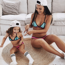 Hot Selling 2018 Breathable Neoprene Swimwear Children Parent-Child Sportswear Clothing Sexy Kids Bikini