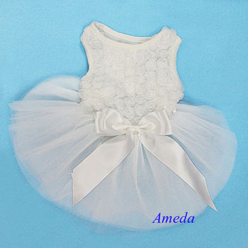 White Rosettes Elegant Wedding Pageant Tutu Dog Pet Clothes Party Dress XS-L
