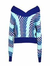 2016 OEM factory price Blue V-neck Contrast Stripe Knit Sweater
