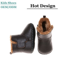 Baby boys cow leather upper shoes soft leather sole boots with fur lining