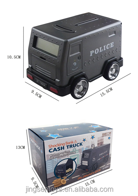 NEW product armored vehicle cash truck money carriers plastic piggy bank digital alarm clock