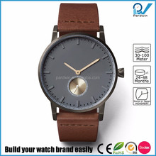 Classic Thin Brushed Steel Watches organically tanned leather strap grey dial with small second