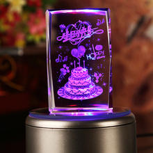 Crystal craft 3d laser blank with light base for birthday gift &love gift
