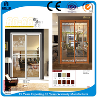 Standard size aluminium front aluminium doors with grid screen design