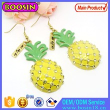 Hot Sale Big Pineapple Earring Gold Jewelry with Custom Metal Engraved Name Tag Gold Plated Earring # 21407