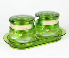 wisdom glass storage canister 2pcs set with holder