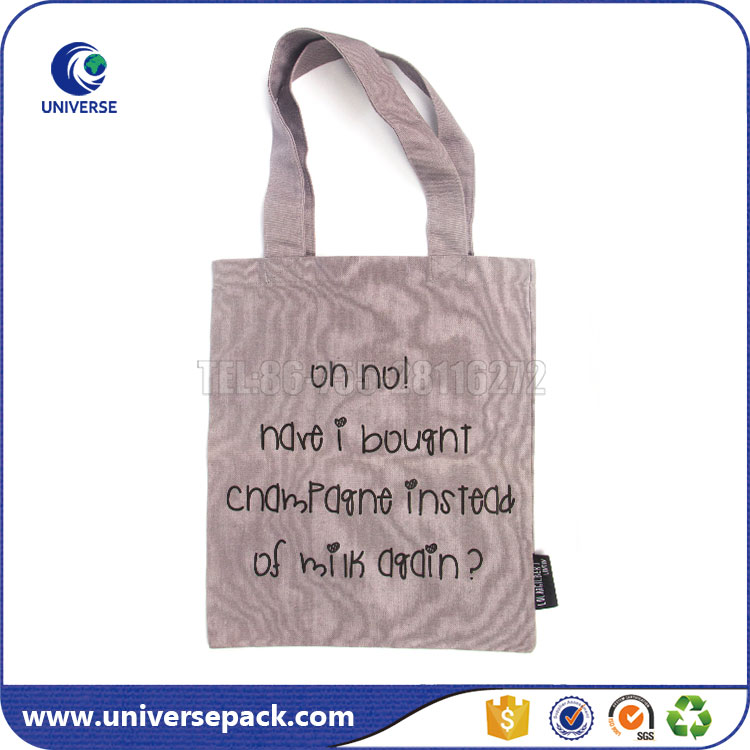 Printed Grey Color 10oz cotton canvas tote bag For Shopping