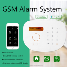 Touch screen RFID wireless GSM alarm system with GSM sim card network, quad-band, 850/900/1800/1900mhz