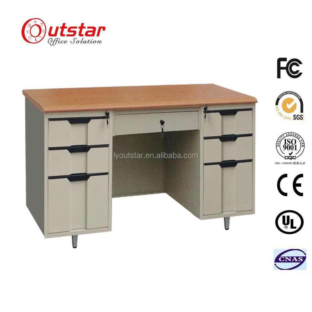 Metal office furniture wood top computer desk with locking drawers