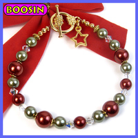 European red and gray shiny round plastic pearl beads bracelet in gold