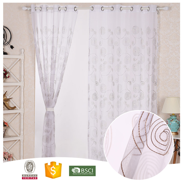 2018 hot design in China tulle fabric embroidery curtain