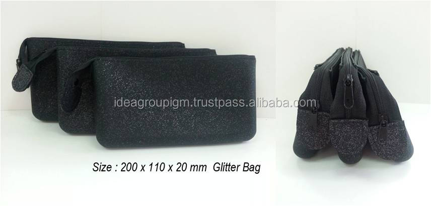 Silicone Big with zipper with Glitter - Cosmetic pochette - beauty bag