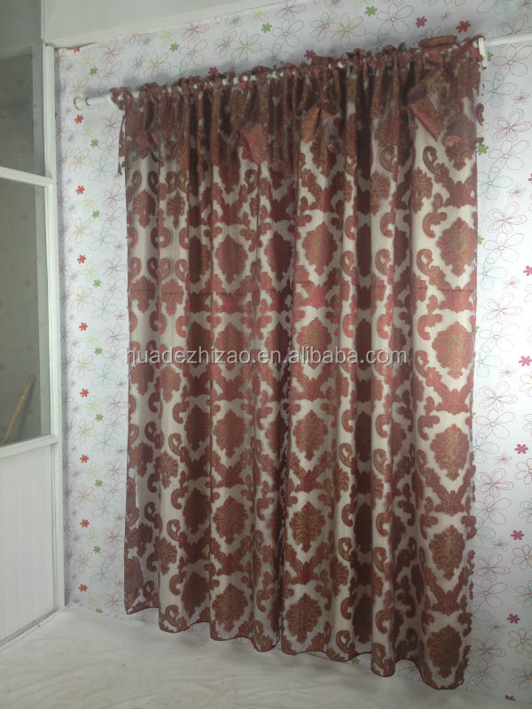 "cheaper embroidered curtains with attached valance 60""*90""+18"""
