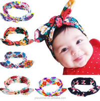 New Baby Floral Printed Top Knot Headband for Girl Hair Fashion Flower Baby Turban Headband Girl Cotton Head Wrap Accessories