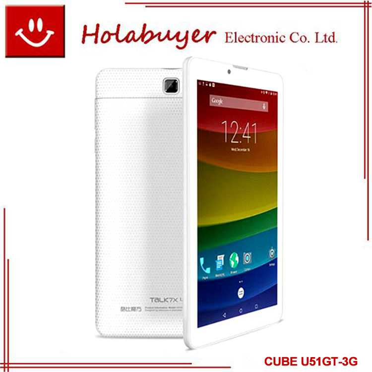 7 inch CUBE U51GT-3G talk7x quad core MT8321 android 5.1 1gb ram 8gb rom GPS white stock MTK tablet pc