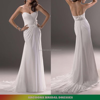 Long fishtail strapless sweetheart sheath bridal dresses backless wedding gowns