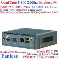 Cheapest fanless mini pc case j1900 with intel quad core 2.0GHz Barebone PC