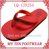 Red Glitter Strap Ladies EVA Flip Flops