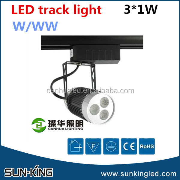 Wholesale top quality track led rail spotlight 3x1W, hanging led rotatable track light 3W