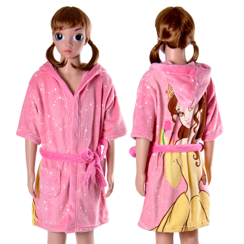 Buy Children Girls Pink Bath Robe With Hood Soft Coral Fleece ...
