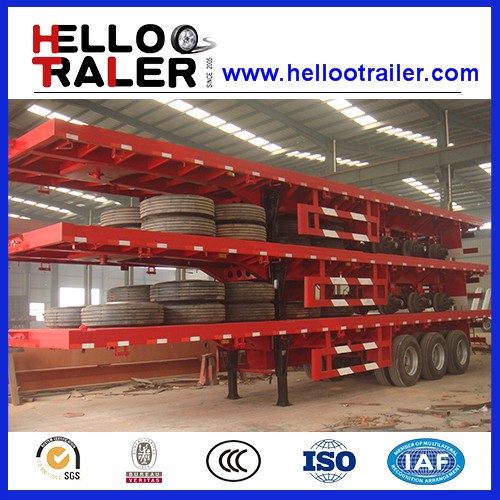 Three Axles 40ft Container Flat Bed Semi Trailer Truck