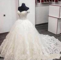 ZH3211G Luxury Lace Wedding Dresses Ball Gown 2018 With Off Shoulder Appliques Wedding Party Dress Bridal Gowns