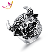 Men's Jewelry Allegoric Laborious Dependable Collected Worthy Stainless Steel Cow Ring