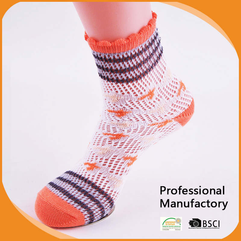 hot sale lady jacquard Rumi Socks with pointelle pattern socks wome