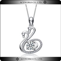 925 Sterling Silver Double Swans Necklace Pendant