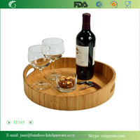 Picnic Curve Bamboo Cocktail serving Tray with handle