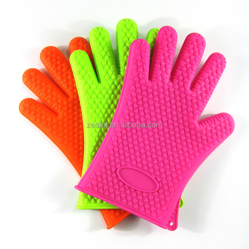 Silicone Oven Gloves Extra Long Nonslip Waterproof Heat Resistant Mitts with Cotton Protection