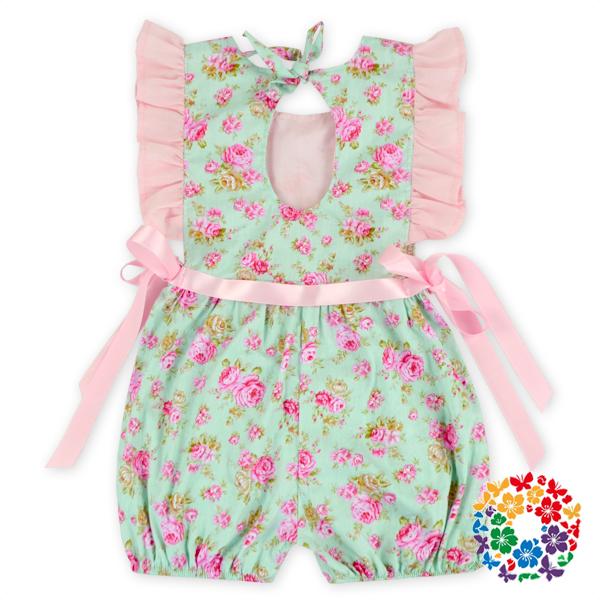 2016 New Design Boutique Children Smocked Outfit Summer Little Rose Ruffle Outfit Girls Fashion Clothing