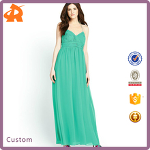 2014 New arrival apparel fashion green chiffon dress, designer clothing manufacturers in china