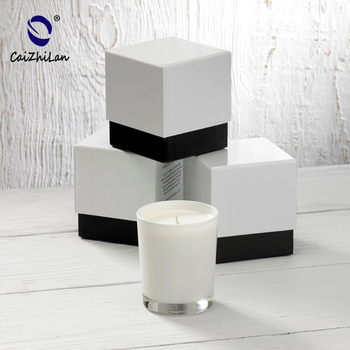 White spraying color Candle Jar Glass with Custom box Packing,11oz Glass Candle Holder