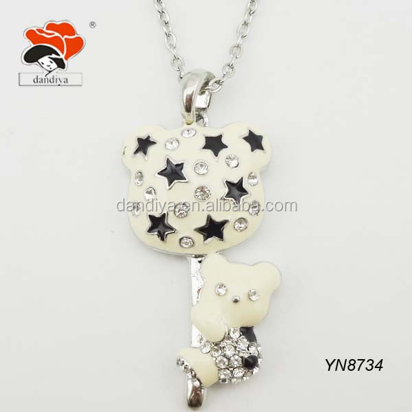 lovely crystal bear necklace with black stars for kids