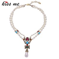 Layers Simulated Pearl Chain Multicolor Imitation Pendant Statement Beads Necklace