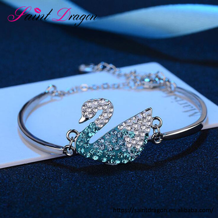 Factory direct sale most popular pure copper bracelet top grade crystal swan bracelet jewelry for girls