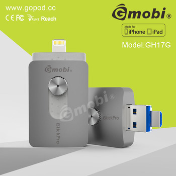 Full Capacity Gmobi iStick pro USB flash drive Powered by a sync App Made for iPhone/iPad/Computer