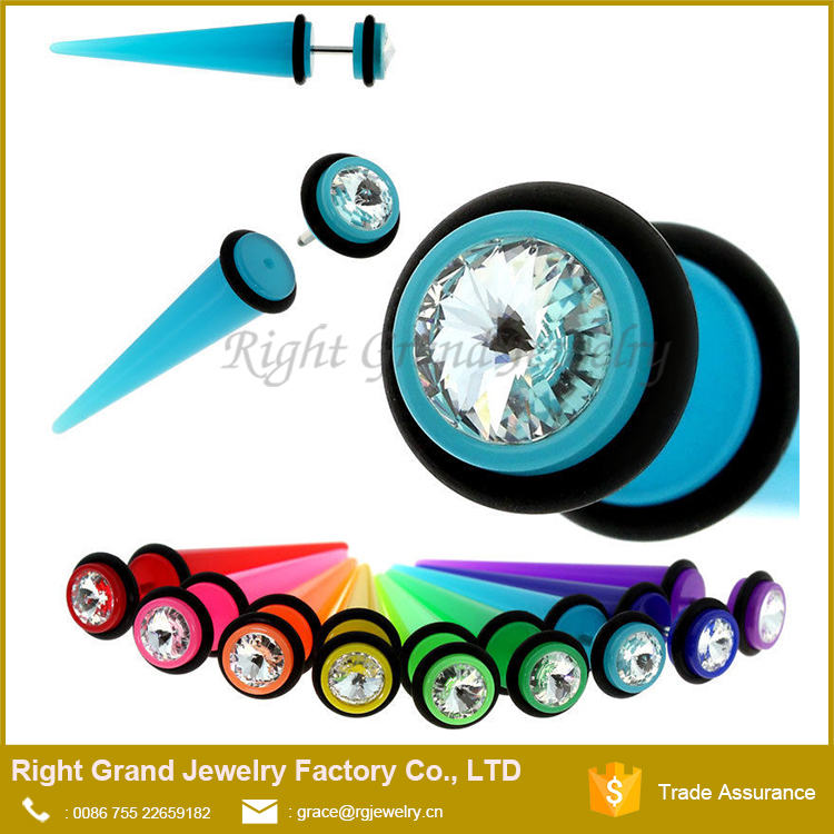 16G Neon Color Acrylic Clear Stone Fake Stretcher Taper Ear Plug