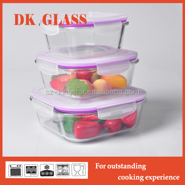Heat Resistant Glass Food Container with Sealed Cover/Glass Storage Food Container