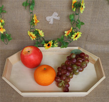 Unfinished handmade wooden non-slip fast food serving tray